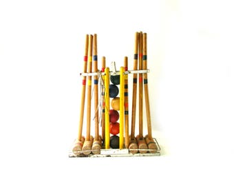 Vintage Croquet Set with Stand