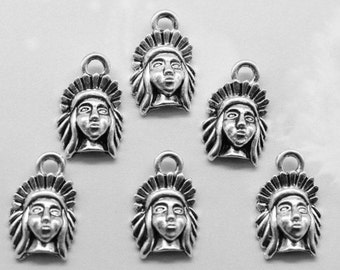 Indian Chief Head Mini Charms, 1/2 Inch Long, Pack Of 20