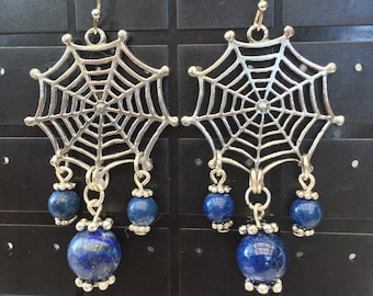 Blue Lapis 'spiderweb' earrings