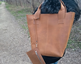 Leather Tote Bag Zipper Bag Shopping Tote Women Everyday Bag Distressed Leather READY TO SHIP Brown Leather Large Tote Full Grain Leather