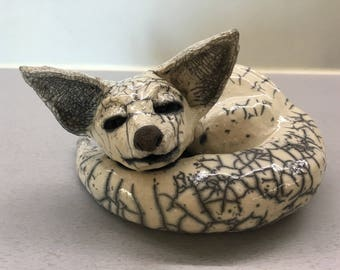 céramic raku baby Fox