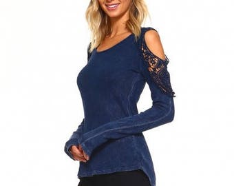 Womens Pullover Stonewashed top with bare shoulder