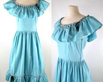 1950s Blue Sleeveless Patio Dress, Porch Dress, Ranch Wear, Square Dance