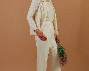 Vintage white silk suit / Wide leg cream silk wedding suit / Vintage bridal wedding suit / Korean raw silk minimalist suit