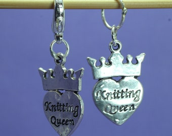 Knitting Queen Knitting or Crochet Stitch Marker, Knitting Stitch Marker, Knitting Tools, Crochet Tools, Gift for Knitters, Progress Keeper