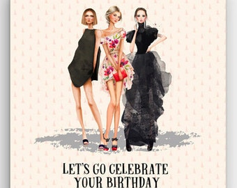 LET'S GO CELEBRATE, birthday card