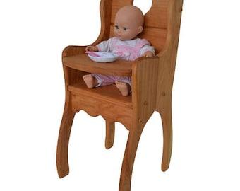 Natural-Hardwood- Dolly's High Chair-Hardwood-Doll-Highchair