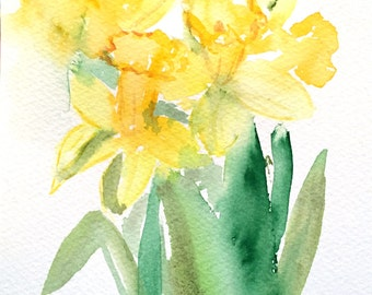 Daffodils - 5x7 Original watercolor painting - flower art, nature, spring, colorful, impressionist