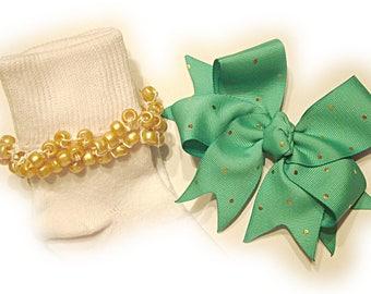 Kathy's Beaded Socks - Tropic with Gold Dots Socks and Hairbow, holiday socks, pony bead socks, gold socks, pearl socks, holiday socks