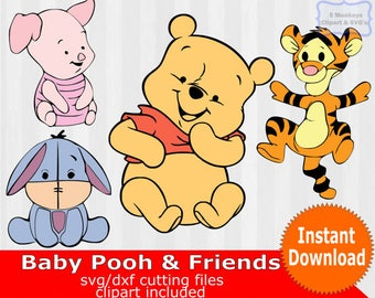 Baby Winnie the Pooh and friends, baby winnie the pooh Clipart, baby winnie the pooh SVG, SVG Files for Silhouette Cameo,cricut cut file,dxf