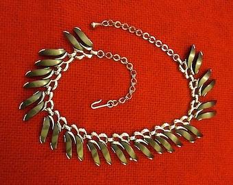 Vintage CLAUDETTE Thermoset Charcoal Grey Lucite Necklace - Choker Collar ~ Designer / Adjustable / c1950s