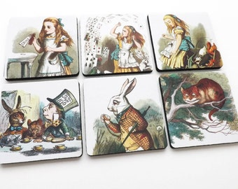 Drink Coasters Alice's Adventures mad hatter drink me housewarming hostess shower gift party favor victorian cheshire cat carroll tenniel