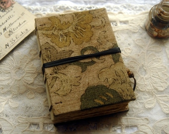 Tea On Sunday - Hand Bound Linen Journal, Tea Stained Pages - OOAK