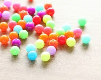 50pcs of Round Colorful Acrylic Beads - Mixed Color - 10 mm