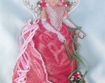 Brooke's Books Spirit of Mistletoe Angel Dimensional Ornament INSTANT DOWNLOAD Cross Stitch Chart