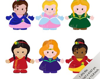 Princesses, cartoon style