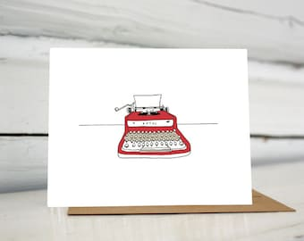 Red Royal illustrated typewriter greeting card