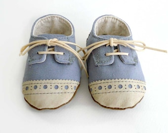 Baby Boy or Girl Shoes Gray Grey Canvas with Brogued Leather Soft Sole Shoes Oxford Wingtips Wing tips