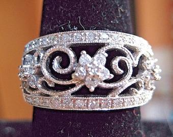 Estate diamond filigree ring in 10k white gold