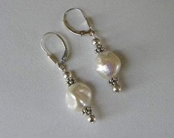 Pearl Earrings Large Pearl Earrings Sterling Silver Shell Pearl Earrings Cultured Baroque White Pearl Dangles Bridal Pearl Dangle Earrings