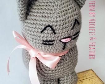 CROCHET PATTERN for Cute Crochet Kitty Cat, Cute Siamese Kitty Cat Crochet Pattern.   Instant PDF Pattern Download