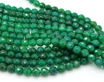 "GU-0615-2 - Green Onyx Faceted Round Beads - Gemstone Beads - 8mm - Full 16"" Strand"