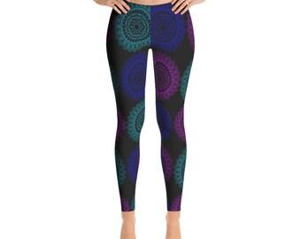 Leggings Yoga Black, Mandala Printed Yoga Art Pants, Black Leggings, Fashion Leggings, Womens Stretch Pants, Leggings Women