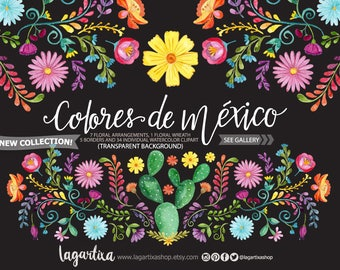 Mexican Watercolor Floral clipart, PNG, mexican party, flowers, folk clip art, hand painted, cinco de mayo, colorful