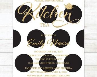 gold black kitchen tea invitation, black polka dots gold glitter printable bridal kitchen tea invite, bridal high tea invitation
