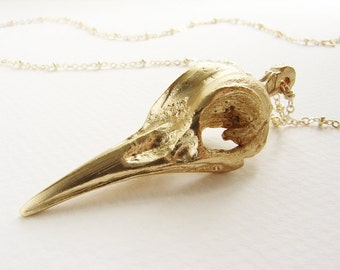 Gold bird skull pendant necklace, statement necklace, Bellatrix Lestrange long necklace, gilded skull pendant