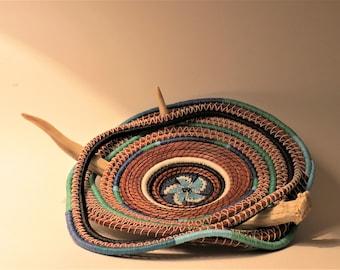 "Pine needle basket art basket, antler basket, called ""Lonesome Prairie"" in shades of blue and turquoise by Linda Miranda"