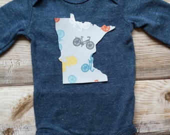 Minnesota Baby Bodysuit-MN Baby Gift-Bike Baby Gift-Minnesota Baby Gift-Minnesota Bike Baby Gift-MN Bike Lover-Trendy Minnesota Baby Gift