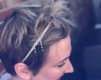 Rhinestone Wedding Headband, Wedding Headband, Rhinestone Headband, Wedding Halo, Wedding Crown, Bridal Head Piece, Bridal Headband