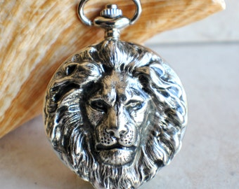 Lion pocket watch, silvertone lion pocket watch,  with tiger eye beads on watch chain