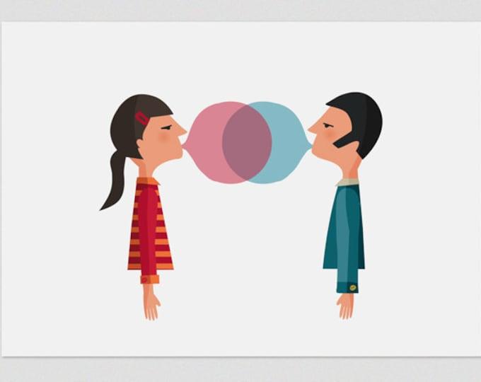 """Ilustración """" Chicle en pareja """"."""