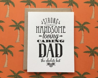 Strong, Handsome Dad - letterpress card