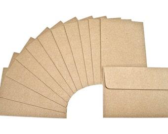 12 Tiny Kraft Envelopes, 2.75 x 4 Inches, Mini Envelopes