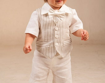 Boy baptism outfits Ring bearer outfit Baby boy linen suit 1st birthday suit Christening formal outfits Rustic wedding boy suit Photo prop
