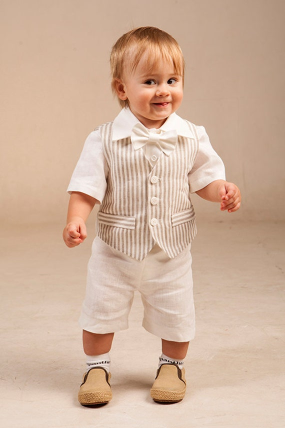 Boy baptism outfits Ring bearer outfit Baby boy linen suit 1st