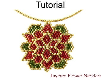 Brick Stitch Jewelry Making Pattern - Beaded Pendant Necklace - Christmas Poinsettia - Simple Bead Patterns - Layered Flower Necklace #16673