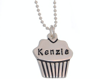 Custom Cupcake Name Necklace - Fine Silver