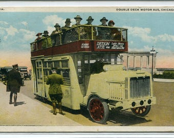 Double Deck Motor Bus Chicago Illinois 1920 postcard