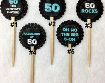 Set Of 12 50th Birthday Party Chalkboard & Teal With Black Glitter Background  Cupcake Toppers (Your Choice Of Any 12)