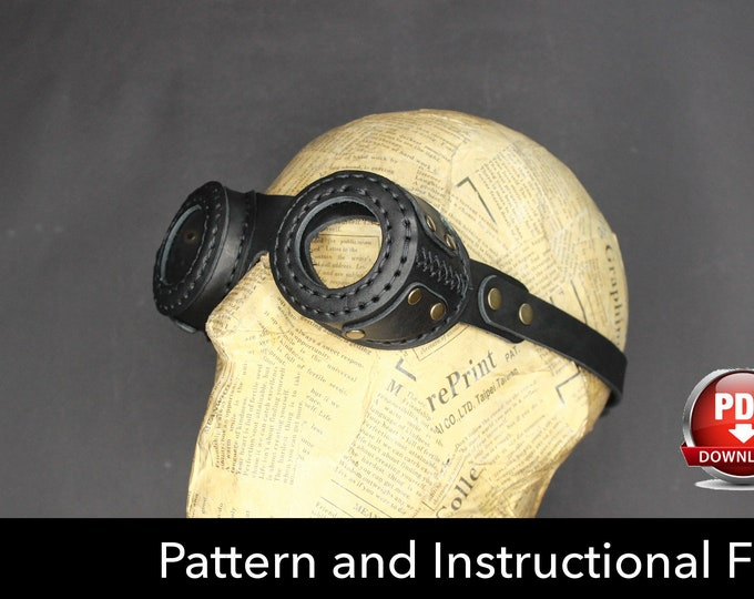 Goggles Pattern - goggles DIY - Pdf Download - Goggles template - Leather Goggles Pattern