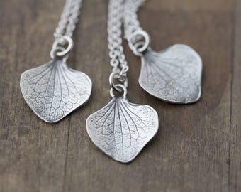 Silver Petal Necklace | Sterling Silver Necklaces for Women | Gardening Gift for Women | Gift for Her | Handmade Jewelry Jewellery Burnish
