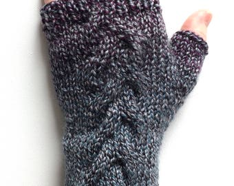 Handknit Fingerless Gloves for Women, Texting Gloves, Hand Warmers, one of a kind, mismatched gloves, cables, magenta, teal, gray, wool
