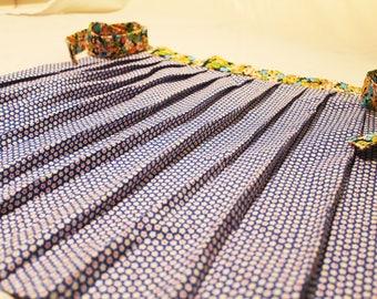 Floral print blue cotton half apron