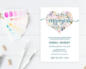 Engagement Party Invitation, Engagement Party Invitation Printable, DIY Engagement Party Invites, Engaged, Engagement, Engagement Invite 735