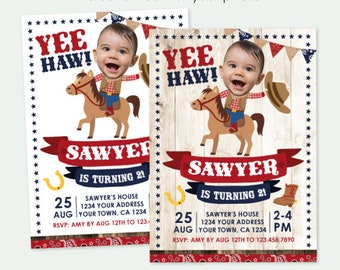 Cowboy Invitation with Photo, Buckaroo Birthday Party, Horse Invitation, Western Birthday Party, Personalized Digital Invite, 2 options