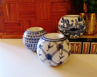 Blue and White Tea Candle Holders, Set of Three, Chinoiserie Decor, Palm Beach Chic, Candle Spheres